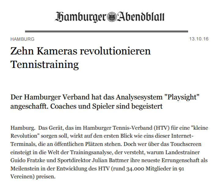 Hamburger Abendblatt über das Playsight Tennisanalyse-System beim Hamburger Tennis Verband