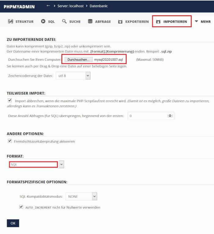 PHPMYADMIN - IMPORT DB